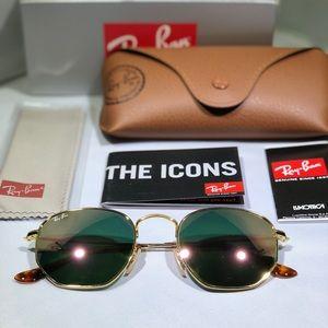 Rayban 51mm Hexagonal Gold Flash Pink Sunglasses